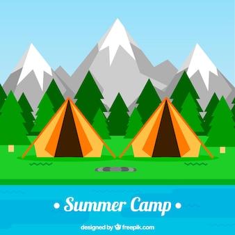 Sommerlagerhintergrund mit orange zelten