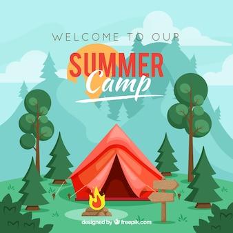Sommerlagerhintergrund mit rotem zelt