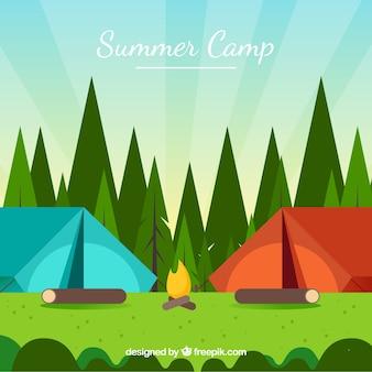 Sommerlagerhintergrund mit zwei zelten