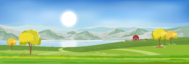 Sommerlandschaft am see mit blauem himmel und wolken,