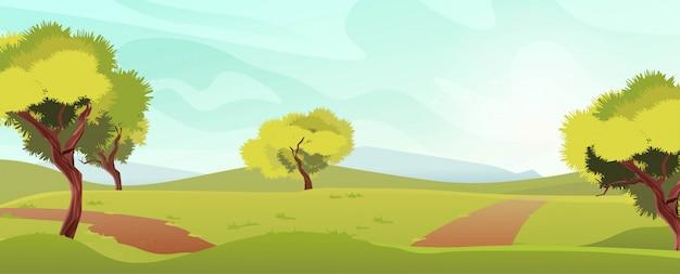 Sommerlandschaft mit blauem himmel, bergen, bäumen, einem weg für spaziergänge. ferienpark, landschaft zum entspannen