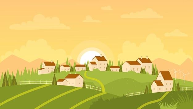 Sommerlandschaft mit dorf- und sonnenaufgangillustration
