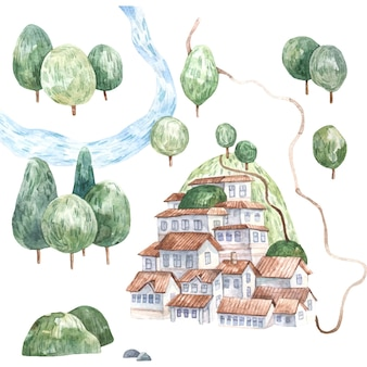 Sommerlandschaft mit grünen bäumen und häusern auf den niedlichen aquarellkindern des berges illustratio