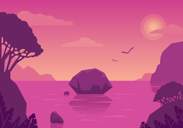 Sommerlandschaft mit inseln und meer. rosa traum. seeurlaub in tropischem klima.