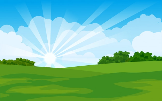 Sommerlandschaft mit leerem grasland