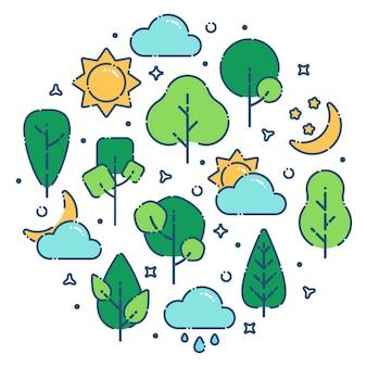 Sommerlandschaftsdruck mit grünen bäumen sonne wolken mond vektor-illustration flacher umriss-stil