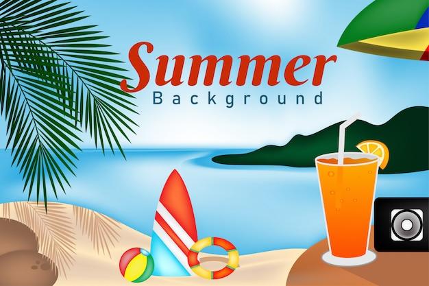 Sommerlandschaftspanorama mit blick auf den strand