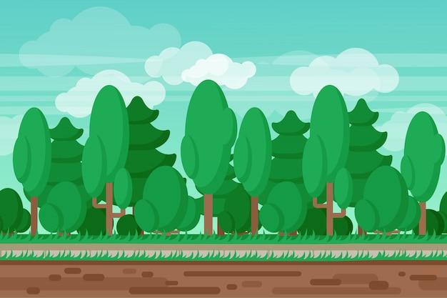 Sommerlandschaftswaldhintergrund des spiels nahtloser