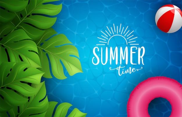 Sommermeerplakat. illustration mit tiefer unterwasserozeanszene.
