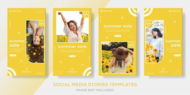 Sommermode verkauf banner vorlage geschichten post premium vektor