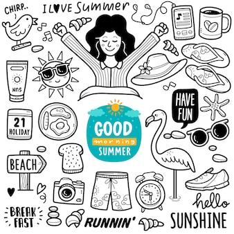 Sommermorgenaktivität schwarz-weiß-doodle-illustration