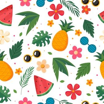 Sommermuster mit früchten, blättern und blüten. vektorillustration im flachen stil