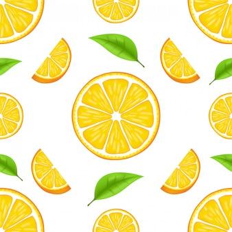 Sommermuster mit orangen und blättern. nahtloses texturdesign. saftige orange mit scheibe und blättern. frische zitrusfrüchte ganz und hälften isolierte illustration