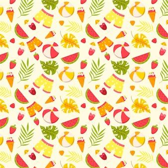 Sommermuster mit shorts und früchten