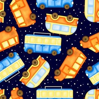 Sommermuster mit transport. cartoon-stil. vektor-illustration.