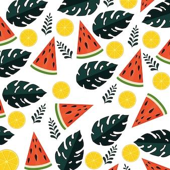 Sommermuster mit tropischen früchten und blattanlagen