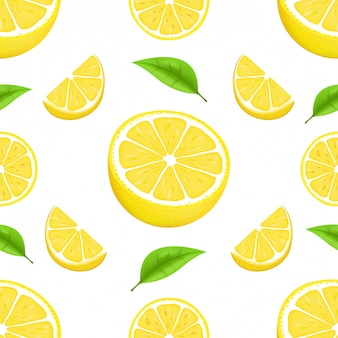 Sommermuster mit zitronen und blättern. nahtloses texturdesign. saftige orange mit scheibe und blättern. frische zitrusfrüchte ganz und hälften isolierte illustration