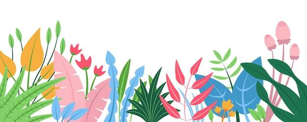 Sommernaturhintergrund mit horizontalem netzfahne des blumenmusterkonzeptes mit blühenden blumen