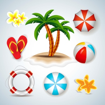 Sommerobjekte icons set
