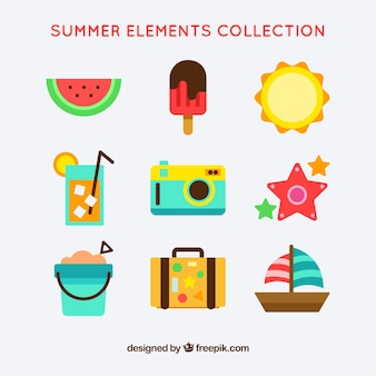 Sommerobjektpackung Kostenlosen Vektoren