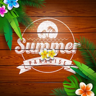 Sommerparadies-feiertags-design mit blume und tropischen pflanzen