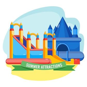 Sommerpark aufgeblasene anziehungskraftsammlung in form des bunten vektorplakats des schlosses. hüpfende ausrüstungen für die unterhaltung der kinder.