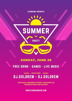 Sommerparty-design-poster oder flyer-nachtclub-event moderne typografie und abstrakter hintergrund. vektorschablonenillustration.