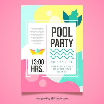 Sommerparty-Plakatschablone mit flachem Design
