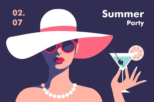 Sommerparty-poster-design-vorlage minimalistischer stil