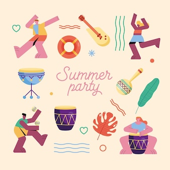 Sommerparty-wortillustration