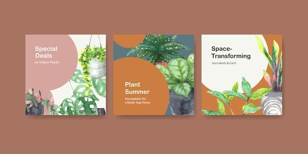 Sommerpflanze und zimmerpflanzen werben schablonendesign für flugblatt, broschürenaquarellillustration