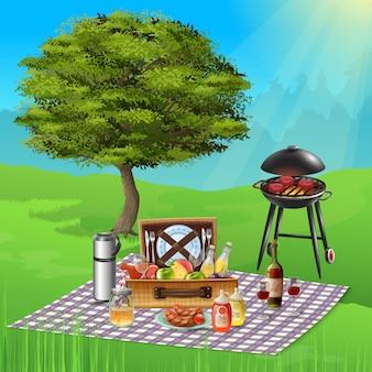 Sommerpicknick mit weinkäse trägt und die köstlichen bbq-teller früchte, die auf realistischer illustration des grills kochen