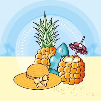 Sommerplakat mit ananas und hut