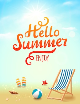 Sommerplakat mit hallo sommerinschrift auf strandhintergrund mit gestaltungselementen. illustration