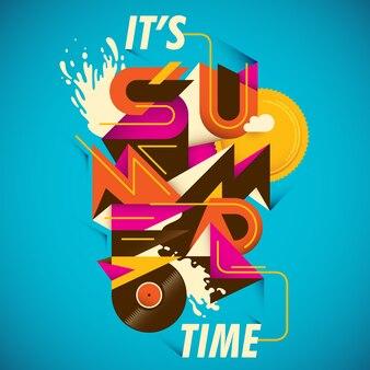 Sommerplakatdesign mit abstrakter typografie