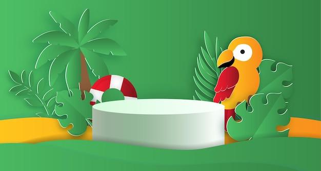 Sommerpodest für ein produkt mit tropischen vogel- und sommerelementen