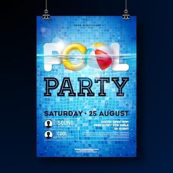 Sommerpool-partyplakat-designschablone mit wasser