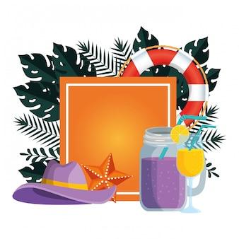 Sommerquadrat mit tropischen blättern und gesetzten ikonen