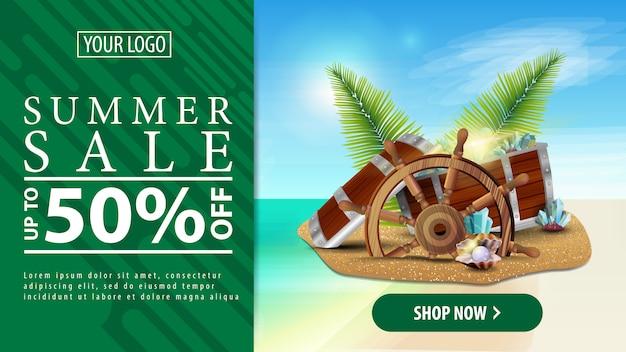 Sommerrabatt, horizontale rabatt-banner mit einer schaltfläche für ihre website