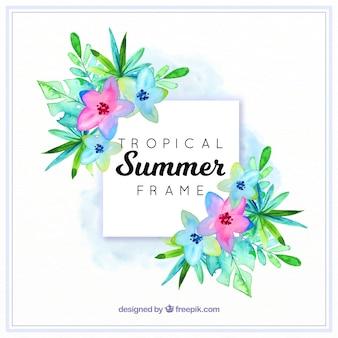 Sommerrahmen mit tropischen blättern