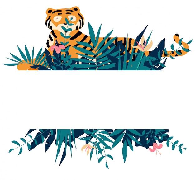 Sommerrahmen mit tropischen dschungelblättern, -blumen und -tiger