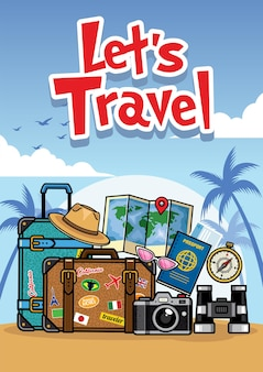 Sommerreise-cartoon-stil