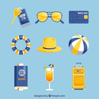Sommerreise-elementsammlung mit flachem design
