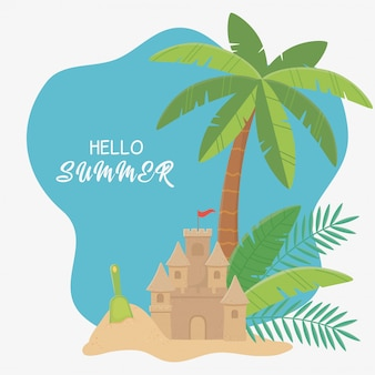 Sommerreise und urlaub sandburg schaufel palme sandstrand