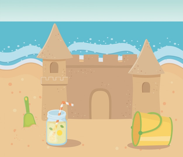 Sommerreise und urlaub sandburg strand eimer schaufelsaft