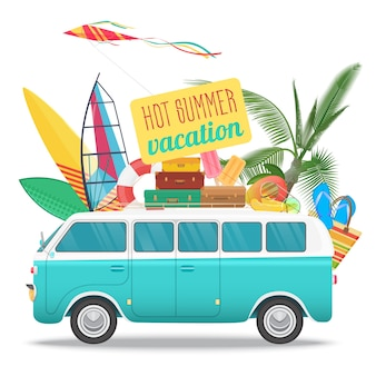 Sommerreiseillustration mit weinlesebus. strandkonzeptlogo. sommertourismus, reisen, trip und surfer