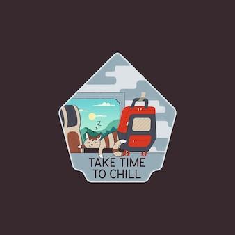 Sommerreisekonzept-t-shirt-design auf schwarzem hintergrund
