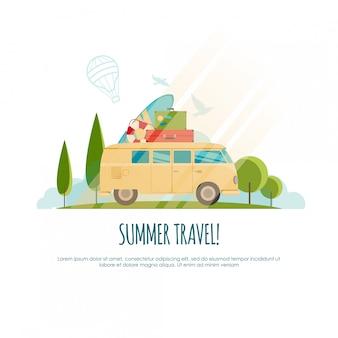 Sommerreisen, reisen mit dem auto, weltreisen, reisen, tourismusillustration