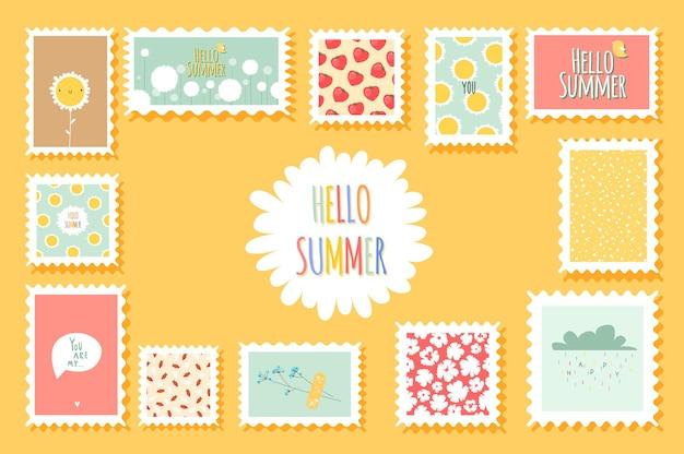 Sommerromantische briefmarken mit blumen und niedlichen fruchtelementen im flachen stil