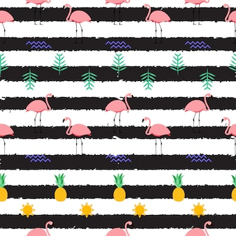 Sommerrosa flamingo nahtloser musterhintergrund. illustration